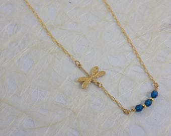 Dainty Dragonfly with Blue Zircon Crystal Bar Necklace