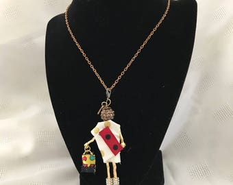 French Doll Pendant, Doll necklace
