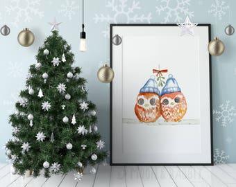 Christmas Printable Art - Watercolor Owl Couple Painting - Digital Print, Wall Art, Instant Download, Nursery, Home Decor, Kids, Cute