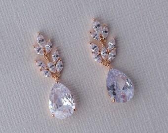 Rose Cubic Zirconia Drop Earrings - Rose Gold CZ Dangle Earrings, Crystal Earrings, Bridesmaid Earrings, Bridal Earrings, Wedding Jewelry