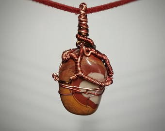 Noreena Jasper Baby Pendant - Small Wire Wrapped Jewelry - Orange and Red Layers Swirled around a Gray-Blue Center - Handmade Necklace