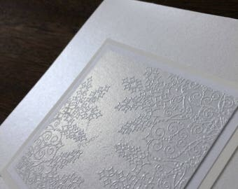 Lacy snowflakes on silver embossed Christmas card, individually handmade: peace on earth, holiday card, winter, peace, snow,  KU PESQ1001