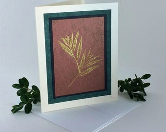 Golden grass on sienna embossed blank card, individually made on hand-painted papers: A2, notecards, fine cards, SKU BLA21012