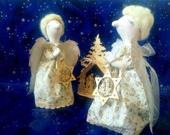 Christmas white angel textile dolls angel with big wings pair dolls Christmas home ornament fireplace decoration Christmas gift Gift for mom