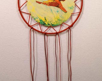 Red Leather Hummmingbird Dreamcatcher