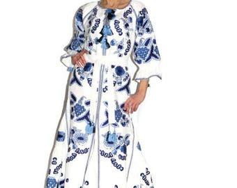 Ukrainian dress Vyshyvanka Long Embroidered Dresses Boho Fashion Custom Embroidery Vishivanka Abaya Caftan Bohemian Clothing Ethnic Ukraine