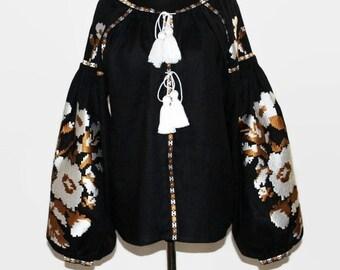 Boho Ukrainian Blouse Vyshyvanka Embroidered Blouses Bohemian Clothing Custom Embroidery Boho chic Clothes Ethnic Folk Ukraine Vishivanka
