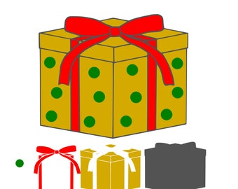 Christmas Present SVG Design Cutting File also includes PNG - for Cricut Design Space and Silhouette Studio - Commercial use