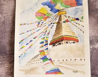 Watercolor painting Nepal-Boudanath stupa Kathmandu-watercolor temple-watercolor travel-Buddhist temple watercolor
