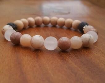 Crystal essential oil diffuser bracelet / 'Desert Rose' gemstone diffuser bracelet / Aromatherapy lavastone diffuser bracelet