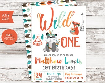 Wild One Birthday Invite, Wild One Birthday Boy, Wild One Birthday, Tribal Birthday, Tribal Invitation, Wild One Invite, Wild One Party