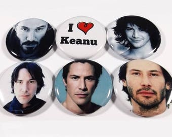 "Keanu Reeves Set Of 6 Different 1.25"" Pinback Buttons Or Magnets"