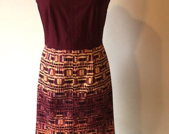 Plum/Yellow Print Dress with Accent Stitching