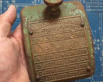 Vintage Cast Iron Machine Door with Brass Plate