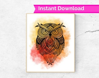 Abstract Zentangle Owl Print, owl art, abstract owl, colourful owl, owl wall art, owl decor, pattern owl, owl print, owl printable art