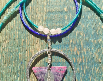 Two Strand Crystal Beaded Necklace
