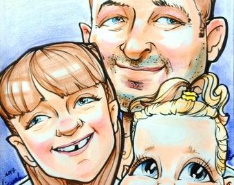 Color caricature for 3 person