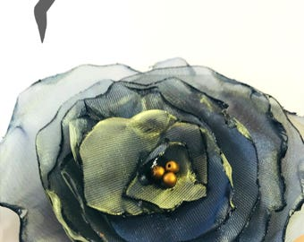 Iridescent Blue and Gold Chiffon Flower Tie On Gift Topper, All Occasion, Gifts, Embellishments