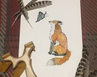 Fox and Butterfly Illustration - A4 prints by MabynOz