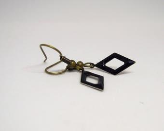 Earrings dangle/diamond/lace/black/minimalist/gift