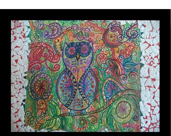 """Original Hand Paint Watercolor Painting Wall Art Home Decor Birds Abstract Gift  """"11x12"""" Owl painting Doodle art mix media painting Green"""