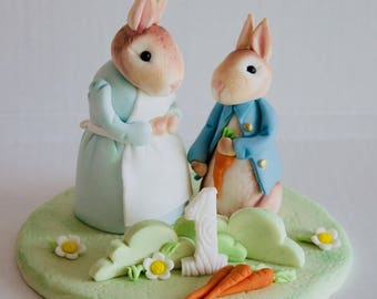 Peter Rabbit &Josephine edible fondant keepsake cake topper birthday,christening