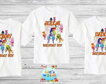 Trolls birthday shirt,Custom shirt ,personalized trolls custom Shirt, family shirt,birthday shirt,kids custom birthday shirt d23
