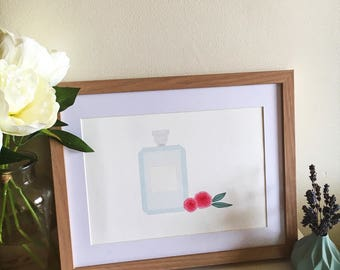 Perfume and Flowers art print: Customisable! Your name or initials
