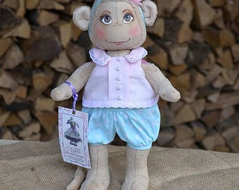 Monkey, Monkey doll, Textile monkey, Monkey toy, Soft monkey, Cloth monkey