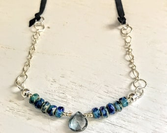 Sterling Silver Beaded Necklace, Deerskin Leather Necklace, Bohemian Jewelry, Necklaces for Women, Necklace for Mom, Handmade Jewelry