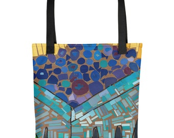Blueberry Mosaic - Amazingly beautiful full color tote bag with black handle featuring children's donated artwork.