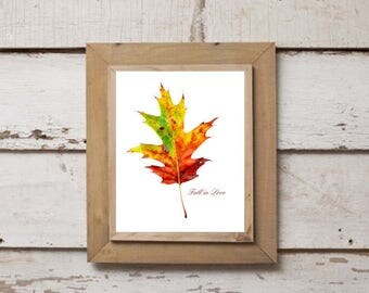 "Printable Download ""Fall in Love"" Leaf Design 1 of 3, Autumn Leaf, Gallery Wall, Fall Wall Decor, Oak Leaf, Fall Love, Digital Print"