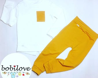 ecru blouse with mustard pocket and  mustard baggy pants,  mustard set, elegant outfit, fashion kid