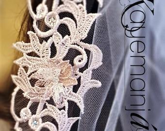 Beaded Lace Chapel Veil / Blush Chapel Veil / Blush Long Veil / Chapel Length Bridal Veil / Chapel Length Wedding Veil / Crystal Chapel Veil