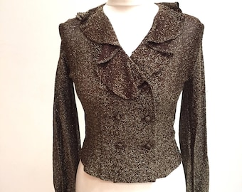 Faraday London 70s brown gold lurex double breasted blouse