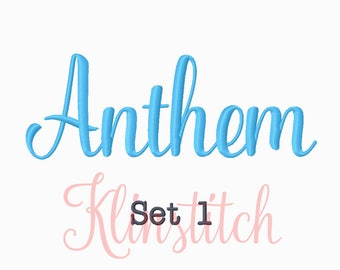50% Sale!! Set 1 Anthem Embroidery Fonts 5 Sizes Fonts BX Fonts Embroidery Designs PES Fonts Alphabets - Instant Download