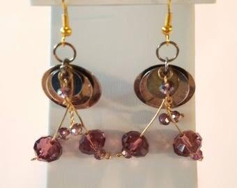Purple Dangley Earrings