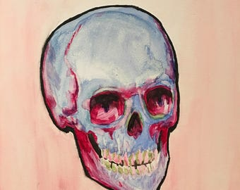 Blue and pink water color skull on gesso board