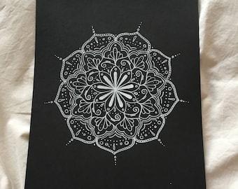 Hand-drawn white mandala on black card - 'The Aimee Mandala'