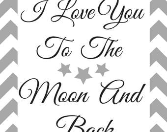 I love you to the moon and back printable| nursery| Nursery printable|printable wall art