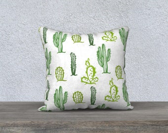 """Pillow cover decorative """"Cactus"""" green and white pillowcase with Pillow-gift-baby nursery children-decoration-themed cushion"""