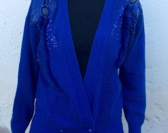Vintage ladies angora  sweater / jacket 80s