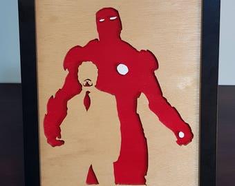Ironman - Framed Superhero Silhouette | Wall Hanging | Marvel | Avengers | Shelf Art | Room Decor | Display Art | Boys Present | Geek Gift