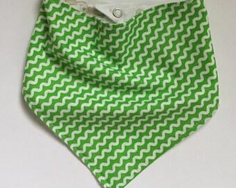 Green and White Reversible Bandana Drool Bib