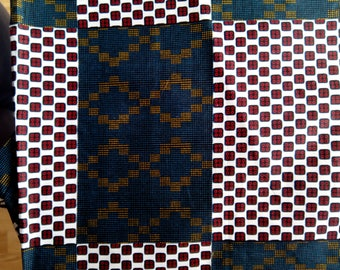 Fat quater - Wax / Ankara Fabric - Kente from Ivory Cost - green, red, white