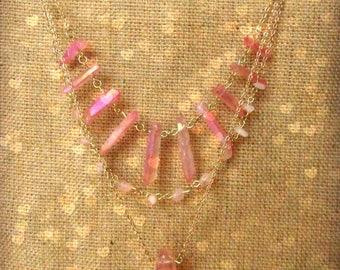 Love Goddess Rose Aura Quartz Layered Necklace