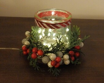 Candy Cane Christmas votive candle holder, Christmas decorations, holiday decorations, glass candle holder, rustic Christmas decorations