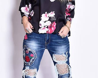 Fashion roses Jeans