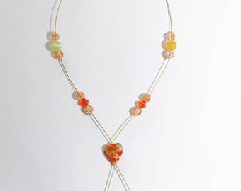 Crystal Swarovski and glass milleflori orange and gold Heart Necklace adjustable nickel free
