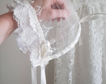 Katherine- Heirloom White or Ivory Lace Christening Bonnet